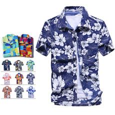 seasideshirt, menfloralprintshirt, Flowers, beachshirtsformen