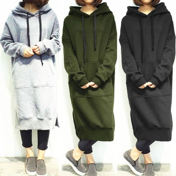 Fleece, hoodedhoodie, long dress, Pullovers