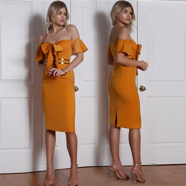 nightclub dress, pencil skirt, Stitching, high waist
