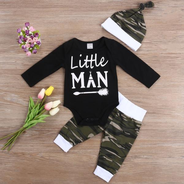 3pcsbabyboyscamoromperpantshatclothesset, babyboyscottonbodysuit, babyboyscamopant, Fashion
