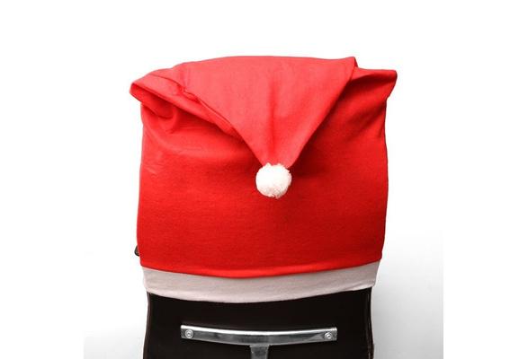 Stuhlhussen Weihnachten Stuhl Husse Hussen Mütze rot Weihnachtsdeko Stuhlüberzug