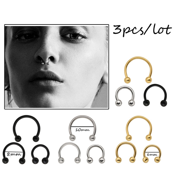 Steel, septumring, horseshoebarbell, cartilage earrings