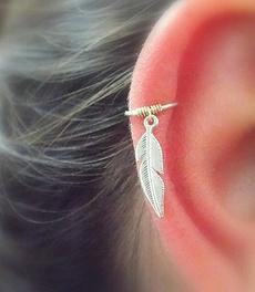 tinyleafgoldhoop, Pearl Earrings, Earring, cartilage earrings