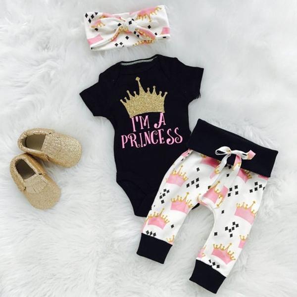 Baby, cottonbabyromper, babyheadband, Princess
