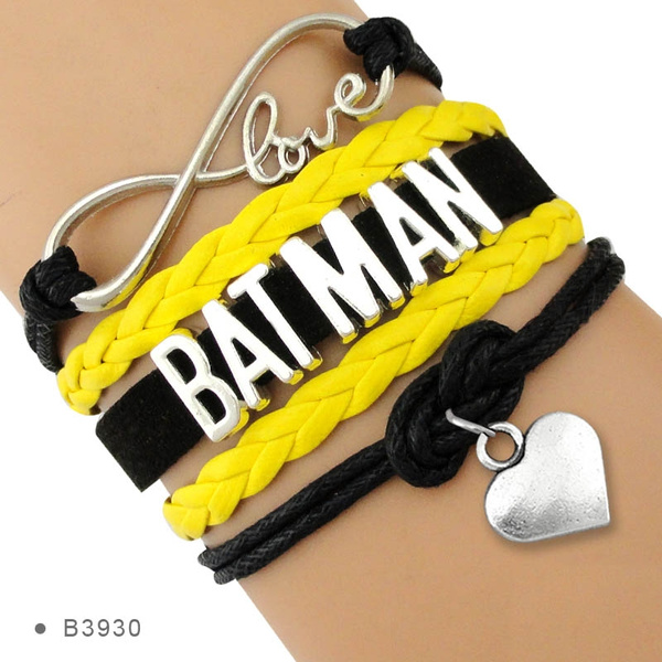 infinity bracelet, Heart, Bat, rope bracelet