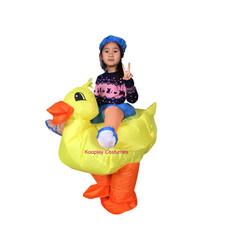 kids, ridingaduckcostume, blowupjumpsuit, yellowduckcostumeforkid