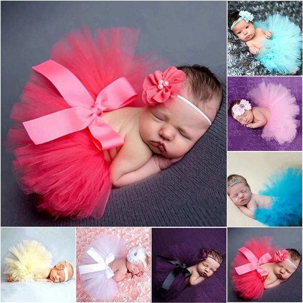 2PCS Suits Skirt+Headwear Baby Photography Costume Photo Bust Skirt Props Outfit