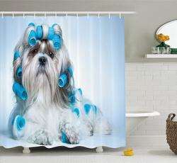 waterproofshowercurtain, Blues, Polyester, Shower