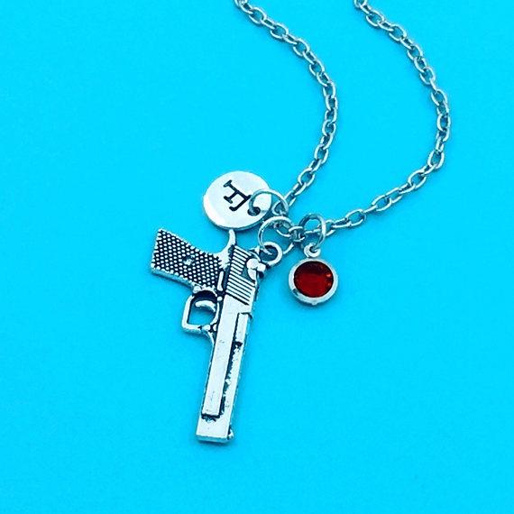 birthstonenecklace, Jewelry, initial, gun
