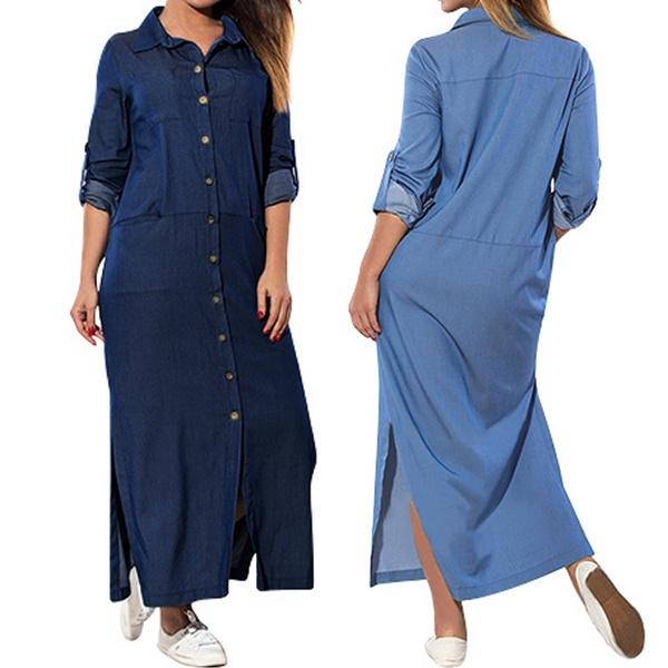 denim dress, Blues, Plus Size, Necks