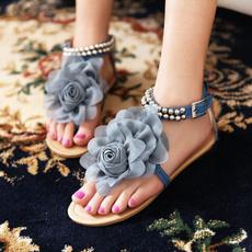 bohemia, Summer, Flip Flops, Flowers
