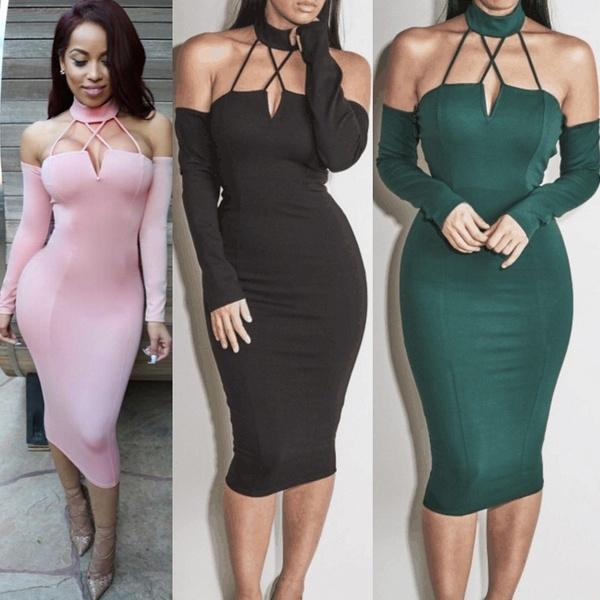 off the shoulder dress, Club Dress, sexy club dress, halter dress