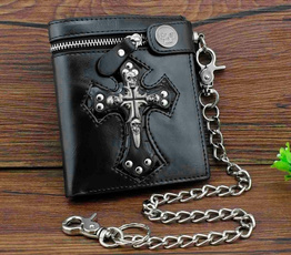 leather wallet, slim, Key Chain, Chain