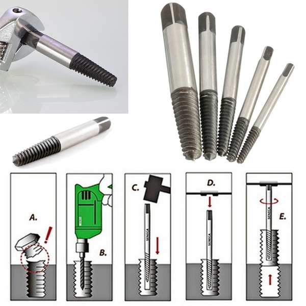 5Pc//set Screw Extractor Set Easy Out Drill Bits guide Broken Screws Bolt Remover