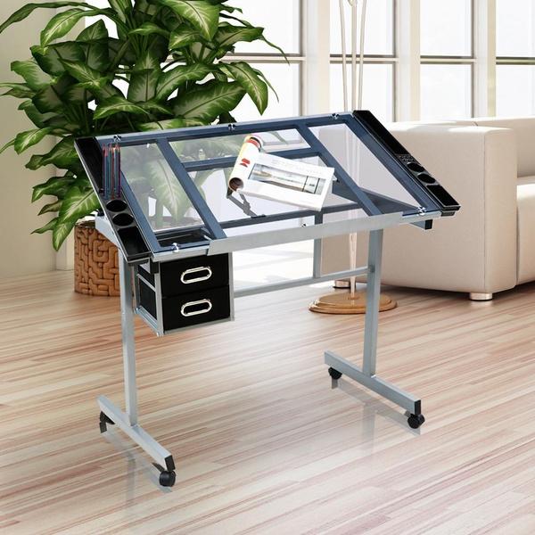rollingdraftingartdesk, drawingcraftdesk, Glass, Tops