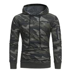 armygreen, sportscoat, Plus Size, hooded sweatshirt