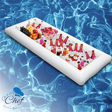 inflatableservingtray, coldbuffetserver, poolparty, pool