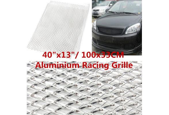 "Universal 40/""x13/'/' Racing Grille Mesh Net Vent Car Tuning Grill Aluminium Silver"