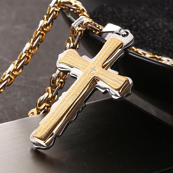 trendy necklace, 18k gold, Christian, Jewelry