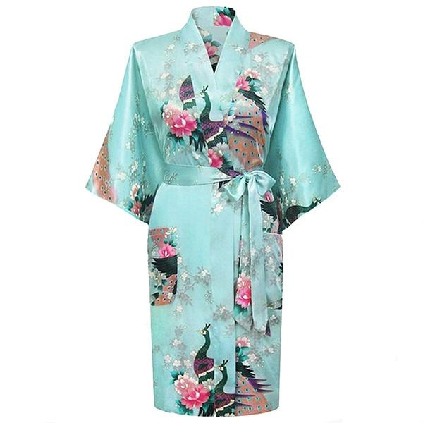 Medium Length Womens Silk Robes Kimono Lightweight Wish