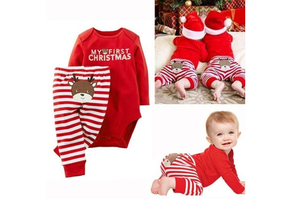 Christmas Hat 0-12 m Santa Trousers Vavshop Christmas Outfits Baby Boys My 1st Christmas Romper