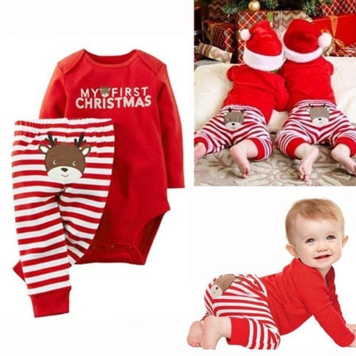 First Christmas Newborn Baby Boy Romper Bodysuit Outfits Xmas Wish