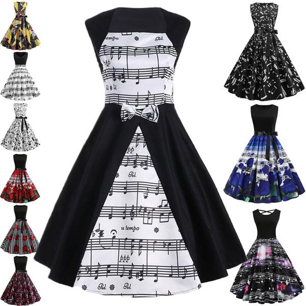 Swing dress, Women, ballgowndre, musicalnoteprint