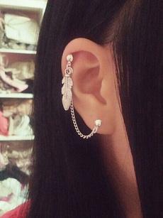 leaf, Jewelry, doublelobehelixearcuffjewelry, Simple