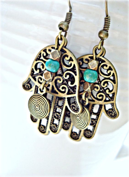 Jewelry, bohoearring, handoffatimaearring, hippiegypsyearring