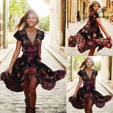 bohemia, Deep V-Neck, шорти, Floral print