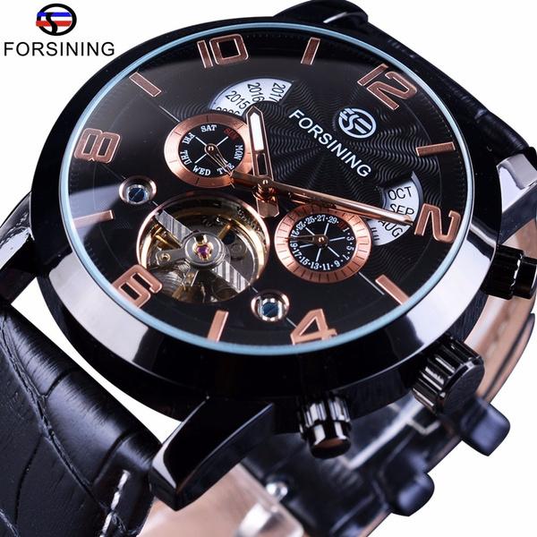 multifunctionalwatch, Fashion, automatiskmekaniskklockorherr, Leather Strap Wrist Watch