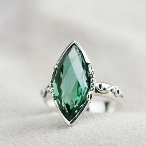 Sterling, DIAMOND, 925 sterling silver, emeraldring