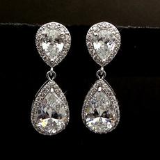 Sterling, Stud, DIAMOND, Dangle Earring