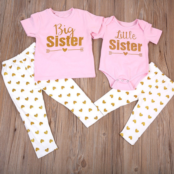 Baby Kids Girl Match Clothes Big Sister T Shirt Little Sister Romper Long Pants Outfits Wish