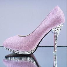 Shoes, round toe, wedding shoes, Rhinestone