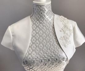 shortsleevejacket, Ivory, bridallacejacket, satinjacket
