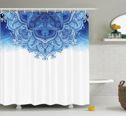 waterproofshowercurtain, Blues, Polyester, Floral