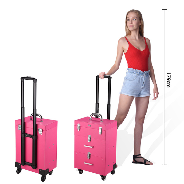Aw Pink Rolling Makeup Case Trolley On