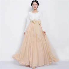 bowknot, long skirt, tulle, high waist