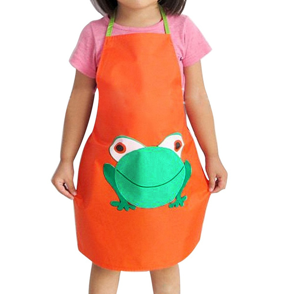 Toddlers School Easy Clean Painting Cartoon Frog Printed Kids Cooking Apron Waterproof Children Design Wish