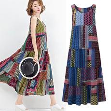 sleeveless, Vest, sundress, long dress