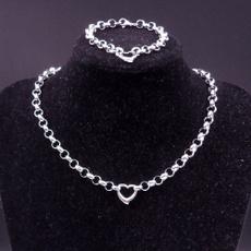 Steel, Heart, Choker, Jewelry