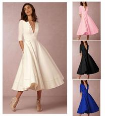 Deep V-Neck, night dress, Princess, gowns