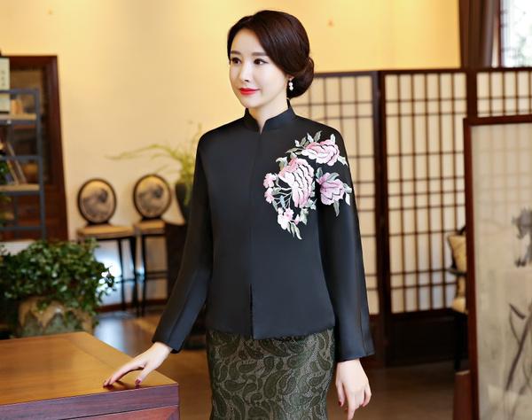 womentangsuit, chinesefashionjacket, Flowers, chinesetop
