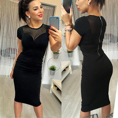 knee length, short sleeve dress, Sleeve, Dress