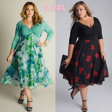 Plus Size, Floral print, Sleeve, wrappedchest