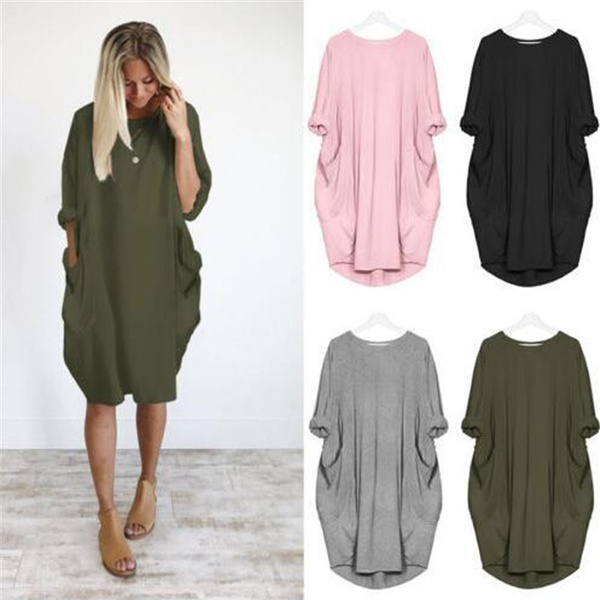 Plus Size, Sleeve, solid, fashion dress