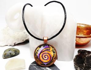glassartjewelry, Copper, Jewelry, giftglassnecklace