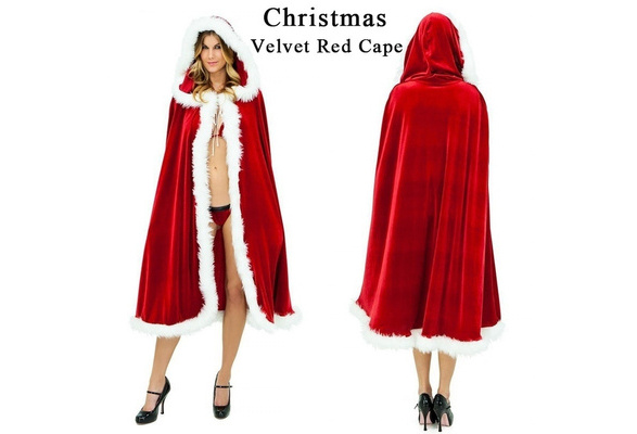 Women Little Red Riding Hood Costume Christmas Halloween Party Dress with Cape