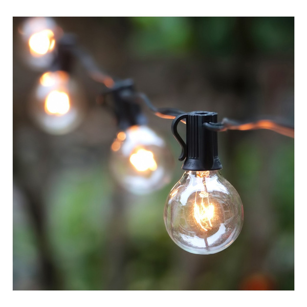 25ft G40 Globe String Lights With Clear, Globe Outdoor Lights String